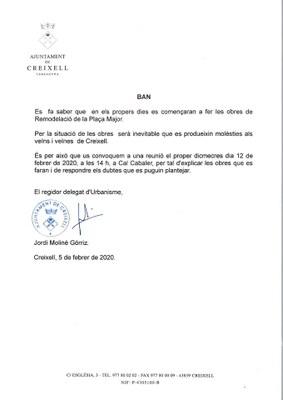 REUNIÓ INFORMATIVA INICI DE LES OBRES DE REMODELACIÓ DE LA PLAÇA MAJOR DE CREIXELL