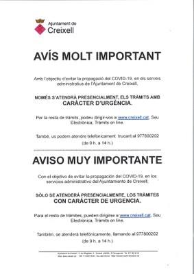 AVÍS SOBRE L'ATENCIÓ AL PÚBLIC A LA CASA DE LA VILA