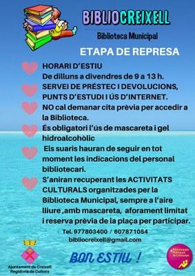 ETAPA DE REPRESA A LA BIBLIOTECA MUNICIPAL BIBLIOCREIXELL  – ESTIU 2020-
