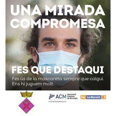 """L'Ajuntament de Creixell s'adhereix a la campanya municipalista """"Fes que destaqui"""" per conscienciar sobre l'ús de la mascareta i col·laborar amb La Marató de TV3"""