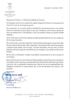 L'OFICINA DE CAIXABANK DE CREIXELL TANCARÀ DURANT TRES SETMANES AL MES D'AGOST DE 2021