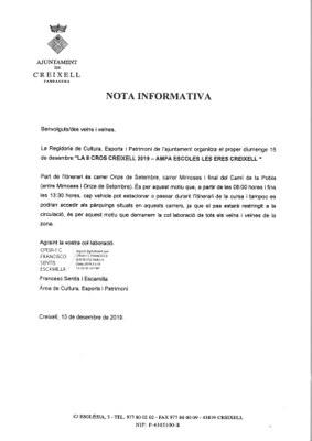 NOTA INFORMATIVA RELATIVA AL II CROS ESCOLAR 2019 DE CREIXELL