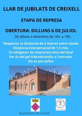 OBERTURA DE LA LLAR DE JUBILATS DE CREIXELL EL DILLUNS 6 DE JULIOL DE 2020