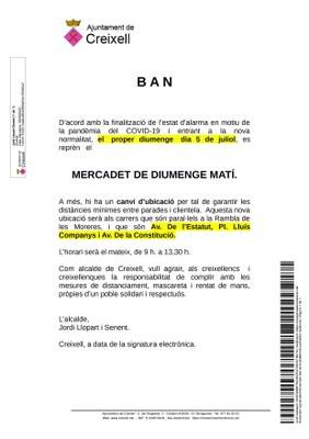 OBERTURA DEL MERCADET SETMANAL DE CREIXELL AQUEST PROPER DIUMENGE 5 DE JULIOL DE 2020
