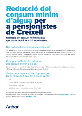 REDUCCIÓ DEL CONSUM MÍNIM D'AIGUA PER A PENSIONISTES DE CREIXELL